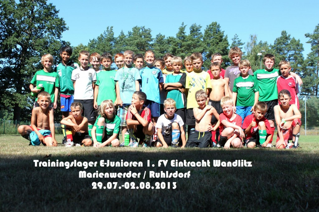 Trainingslager E-Junioren Eintracht Wandlitz Gruppenbild