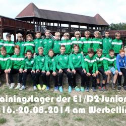 Trainingslager E-D-Junioren 1. FV Eintracht Wandlitz 2014 am Werbellinsee beschriftet
