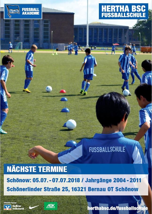 Werbeflyer Hertha-Fußballschule in Schönow