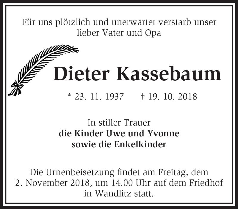 2018 19. Oktober Dieter-Kassebaum-Traueranzeige