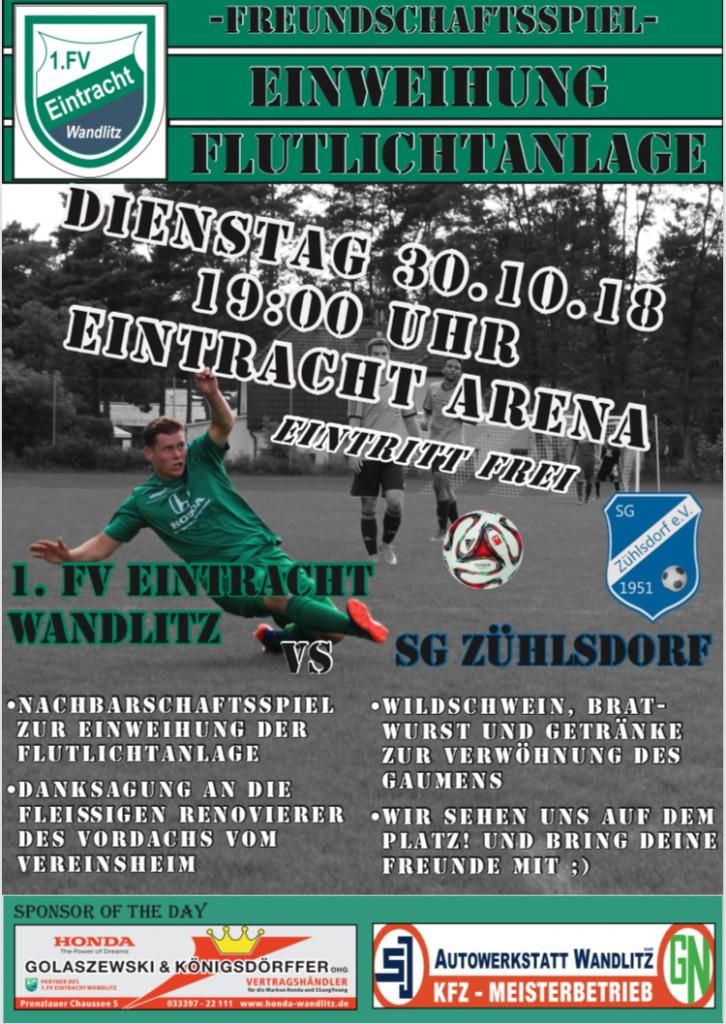 20181030 Werbeplakat anlässlich Einweihung Flutlichtanlage Sportplatz mit Freundschaftsspiel gegen SG Zühlsdorf