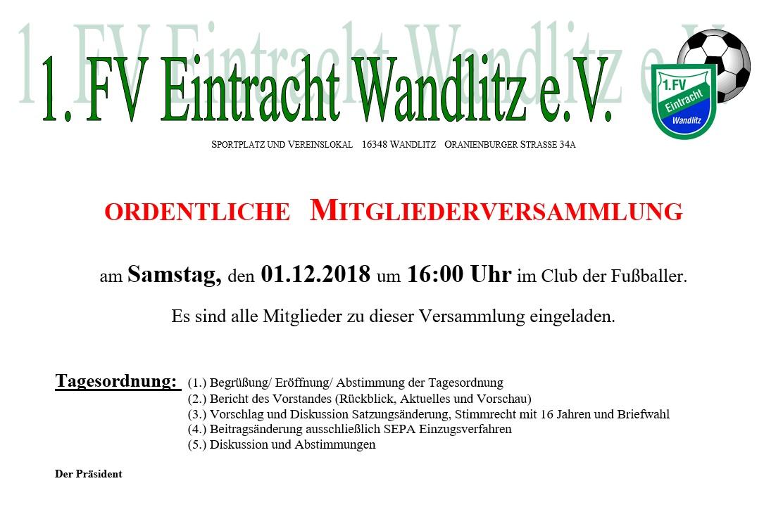 Einladung Mitgliederversammlung Eintracht Wandlitz 01.12.2018