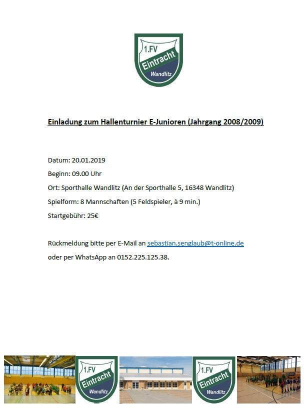 Einladung 1. FV Eintracht Wandlitz für E-Junioren-Hallenturnier am 20.01.2019